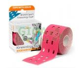 BronVit Sport Kinesio tape děrovaný růžová 5cmx5m