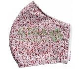 Obrázek Rouška textilní 3-vrstvá 1ks, MD class I, Červené květinky S