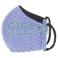 Rouška textilní 3-vrstvá 1ks, MD class I, Modrá čtverečky S