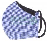 Obrázek Rouška textilní 3-vrstvá 1ks, MD class I, Modrá čtverečky S